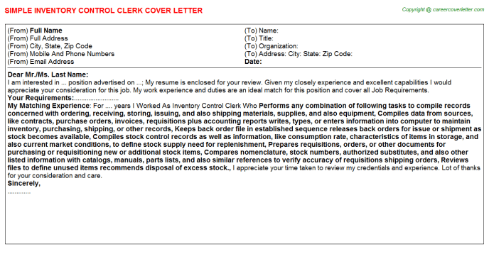 Inventory Control Clerk Job Cover Letter  Cover Letters