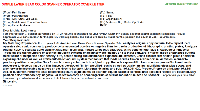 Scanner Cover Letters Samples