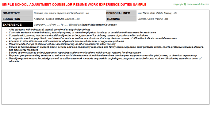 School Adjustment Counselor Job Resumes  Resume Examples
