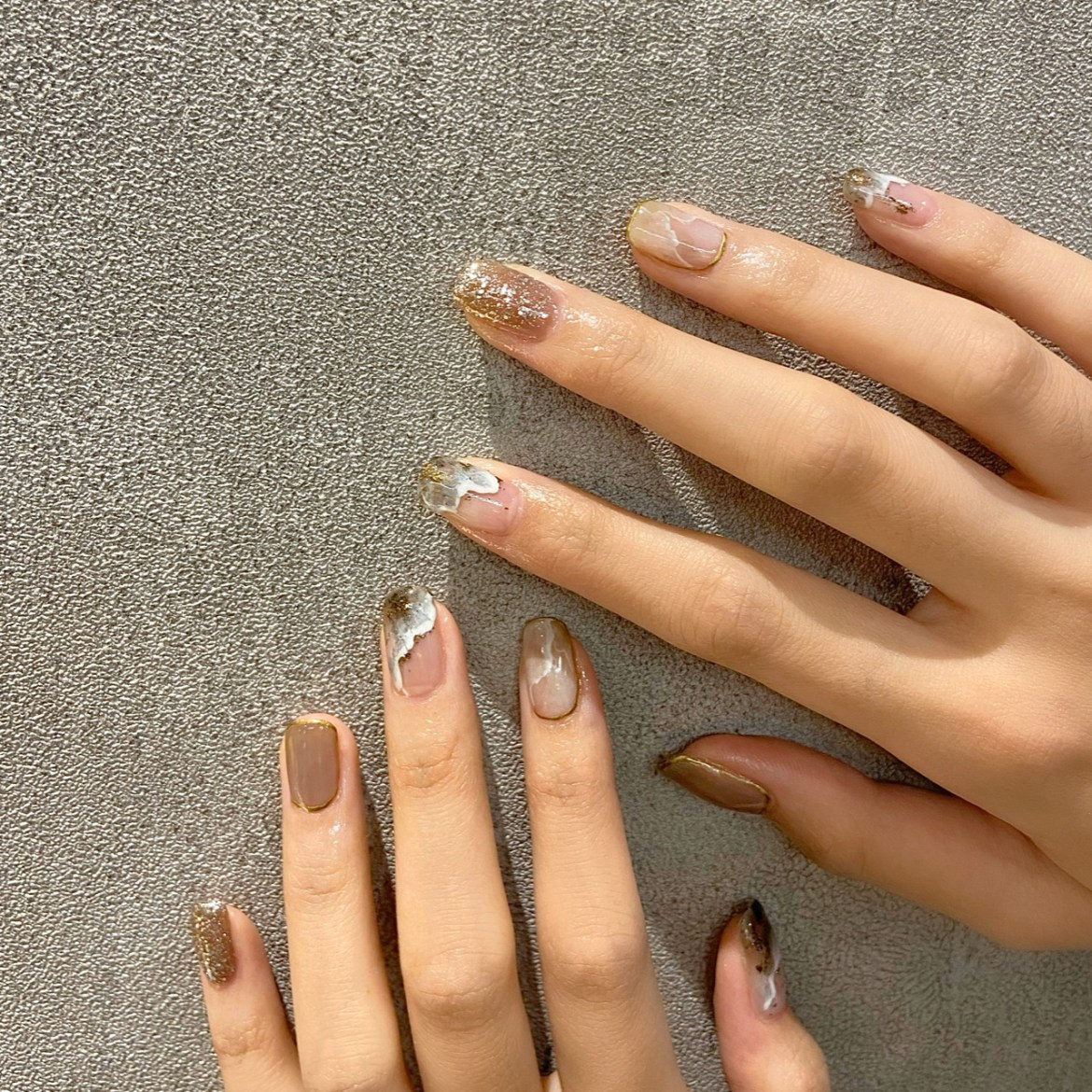 Marble Wave Glitter Summer Nails 4