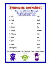 Free Printable Synonym Worksheets - Bluegreenish