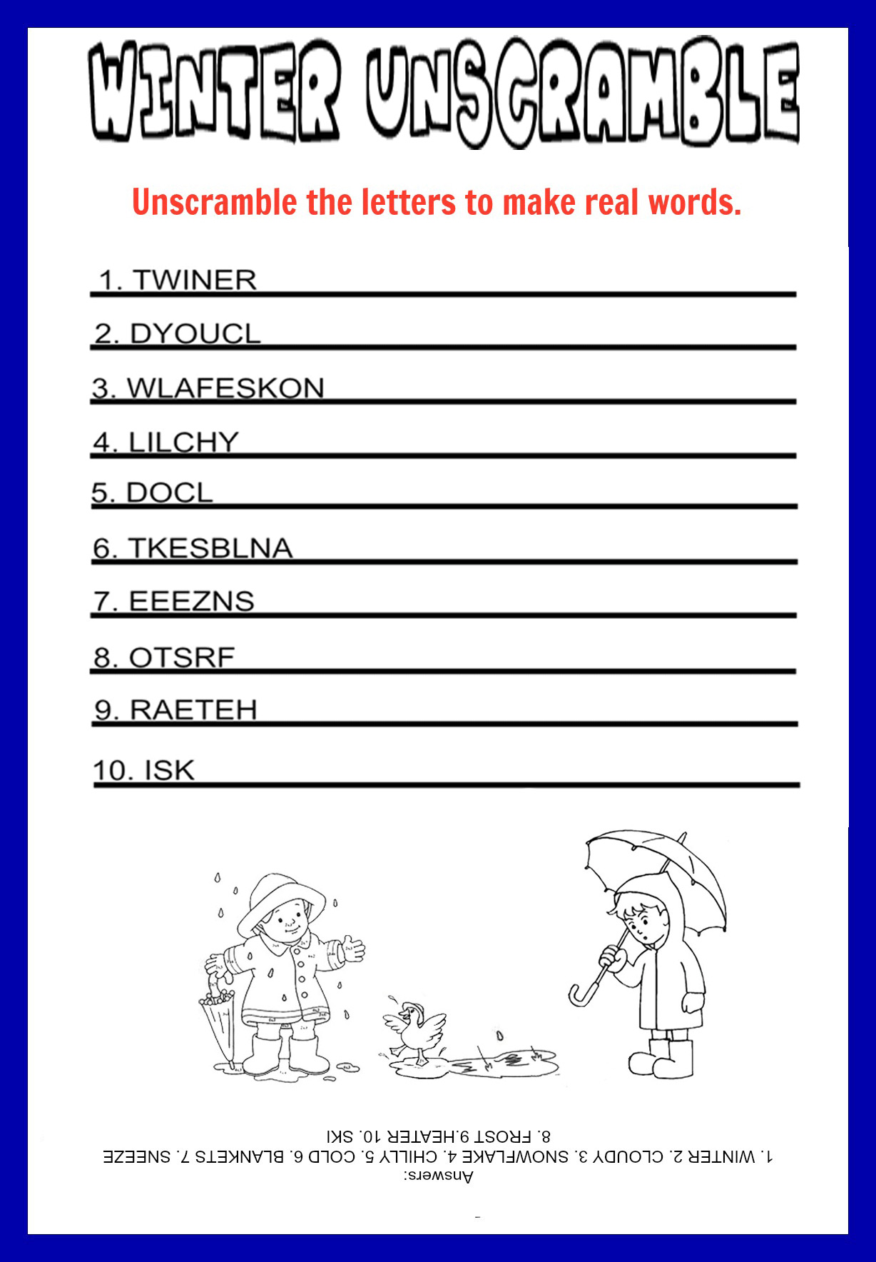 Unscramble Christmas Words Answers