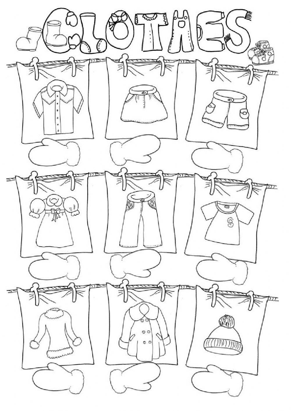hight resolution of Clothes worksheet