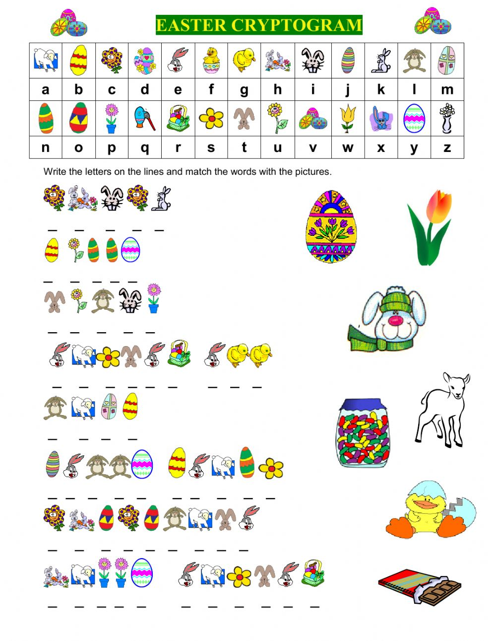 hight resolution of EASTER CRYPTOGRAM worksheet