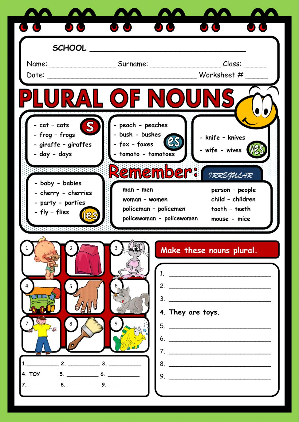 hight resolution of Plural of nouns worksheet
