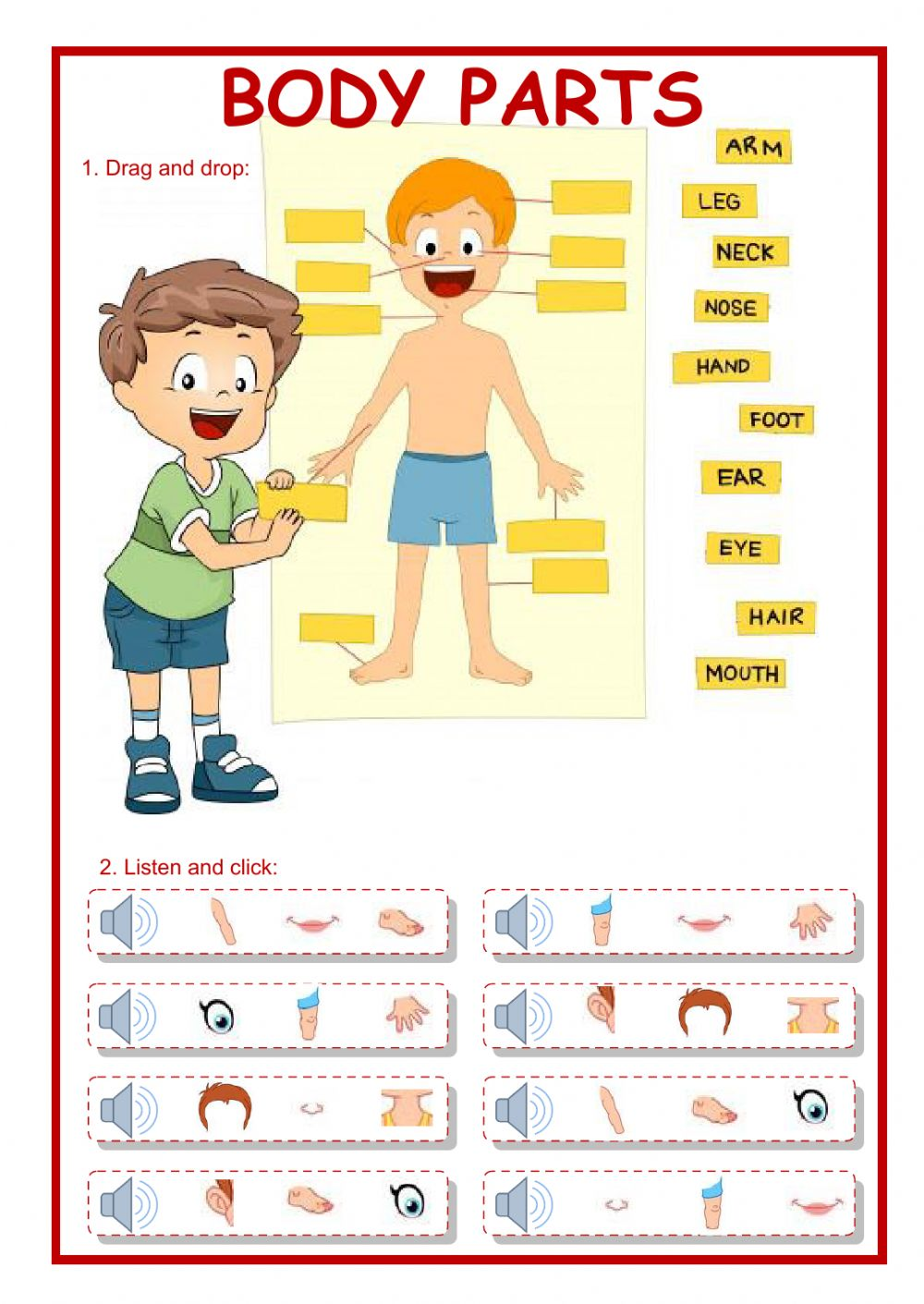 hight resolution of Body parts worksheet