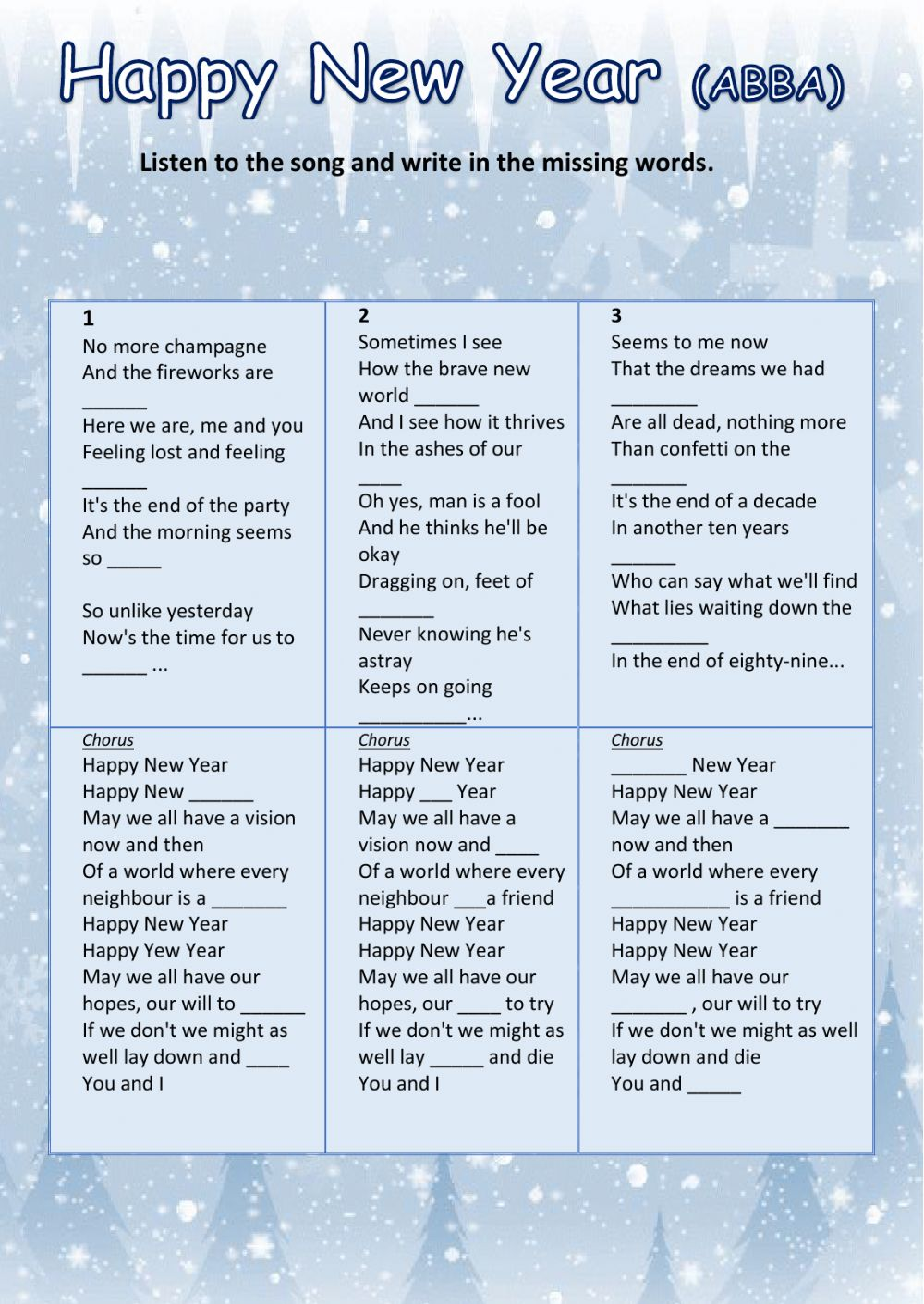 hight resolution of HAPPY NEW YEAR (ABBA) worksheet