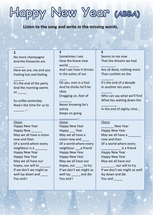 small resolution of HAPPY NEW YEAR (ABBA) worksheet