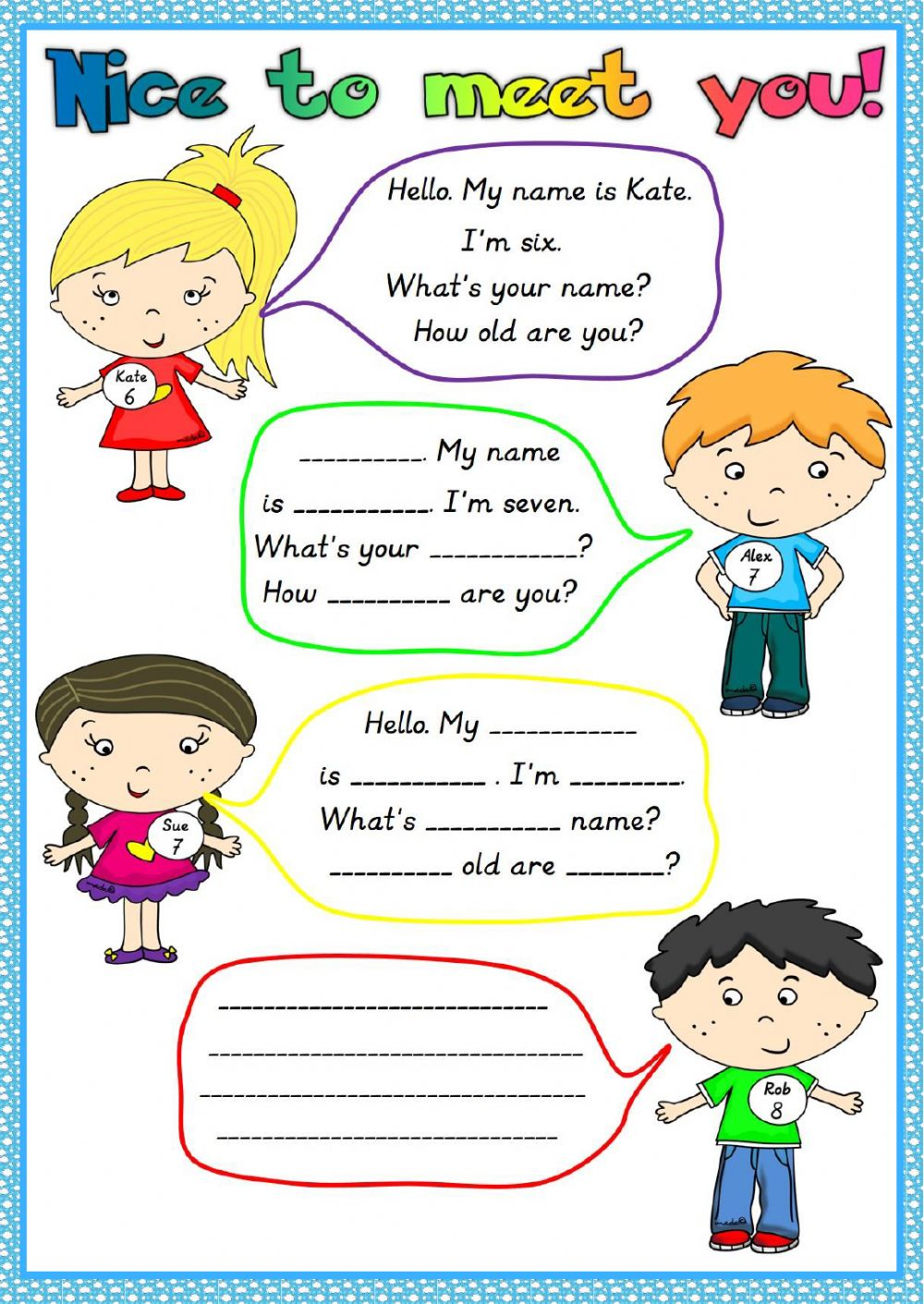 hight resolution of Nice to meet you worksheet