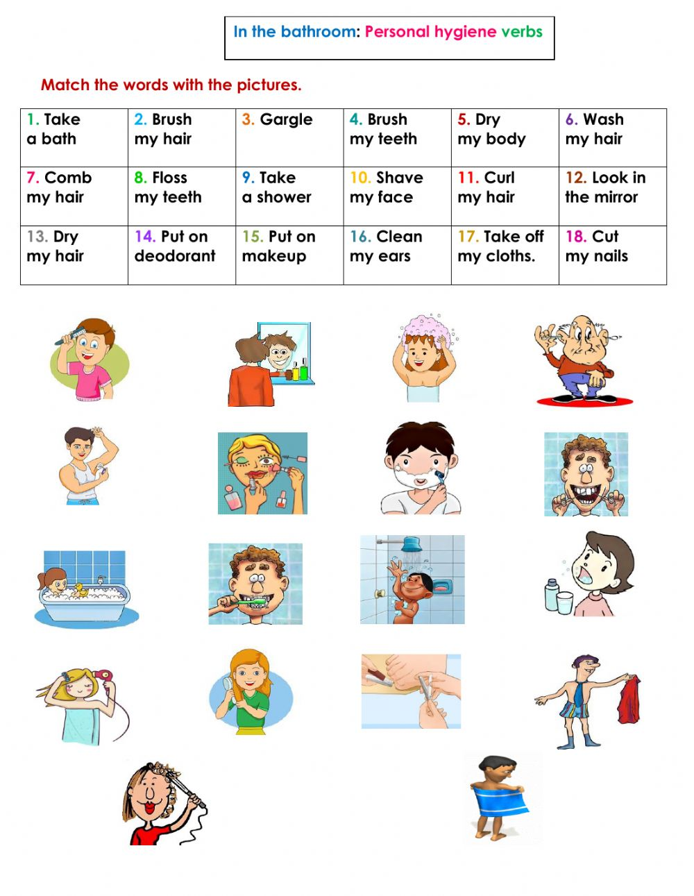 hight resolution of The bathroom: Personal hygiene verbs worksheet