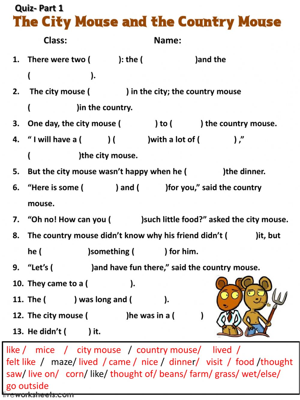 hight resolution of The City Mouse and the Country Mouse worksheet