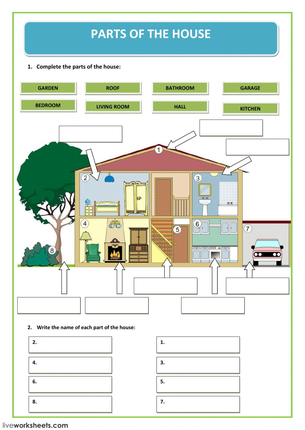 hight resolution of parts of the house worksheet