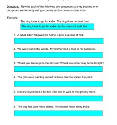 Using Coordinating Conjunctions in Compound Sentences worksheet [ 1291 x 1000 Pixel ]
