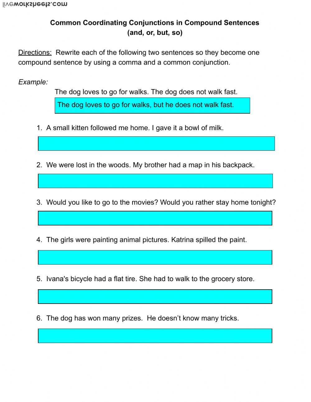hight resolution of Using Coordinating Conjunctions in Compound Sentences worksheet