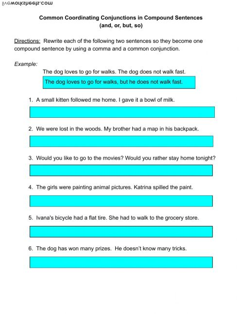 small resolution of Using Coordinating Conjunctions in Compound Sentences worksheet