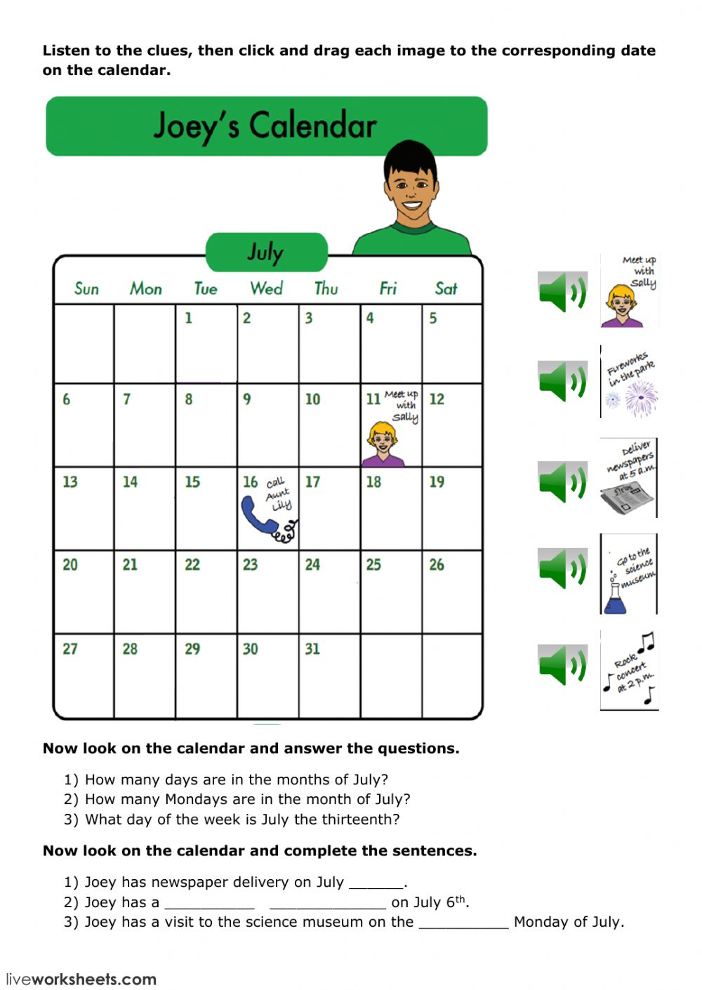 medium resolution of Joey's Calendar worksheet