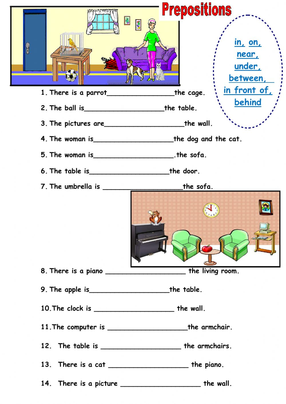 hight resolution of Prepositions of place interactive worksheet