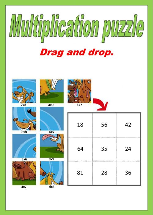 small resolution of Single digit Multiplication puzzle worksheet