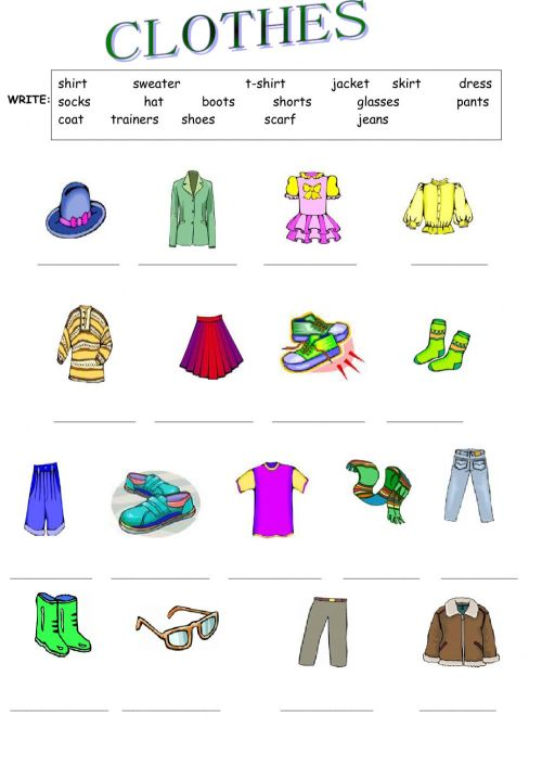 small resolution of Clothes activity