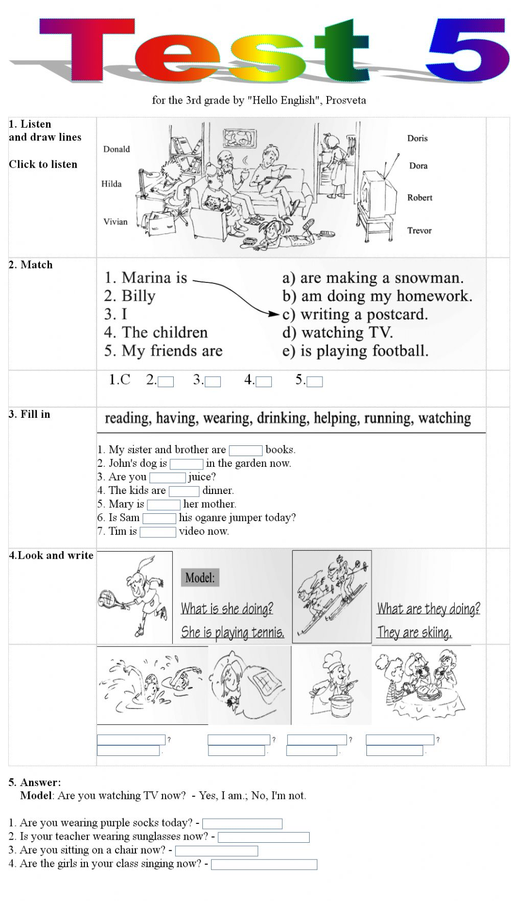 hight resolution of Test 5 for the 3rd grade worksheet