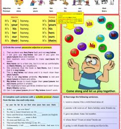 Possessives - Adjectives and Pronouns worksheet [ 1411 x 1000 Pixel ]