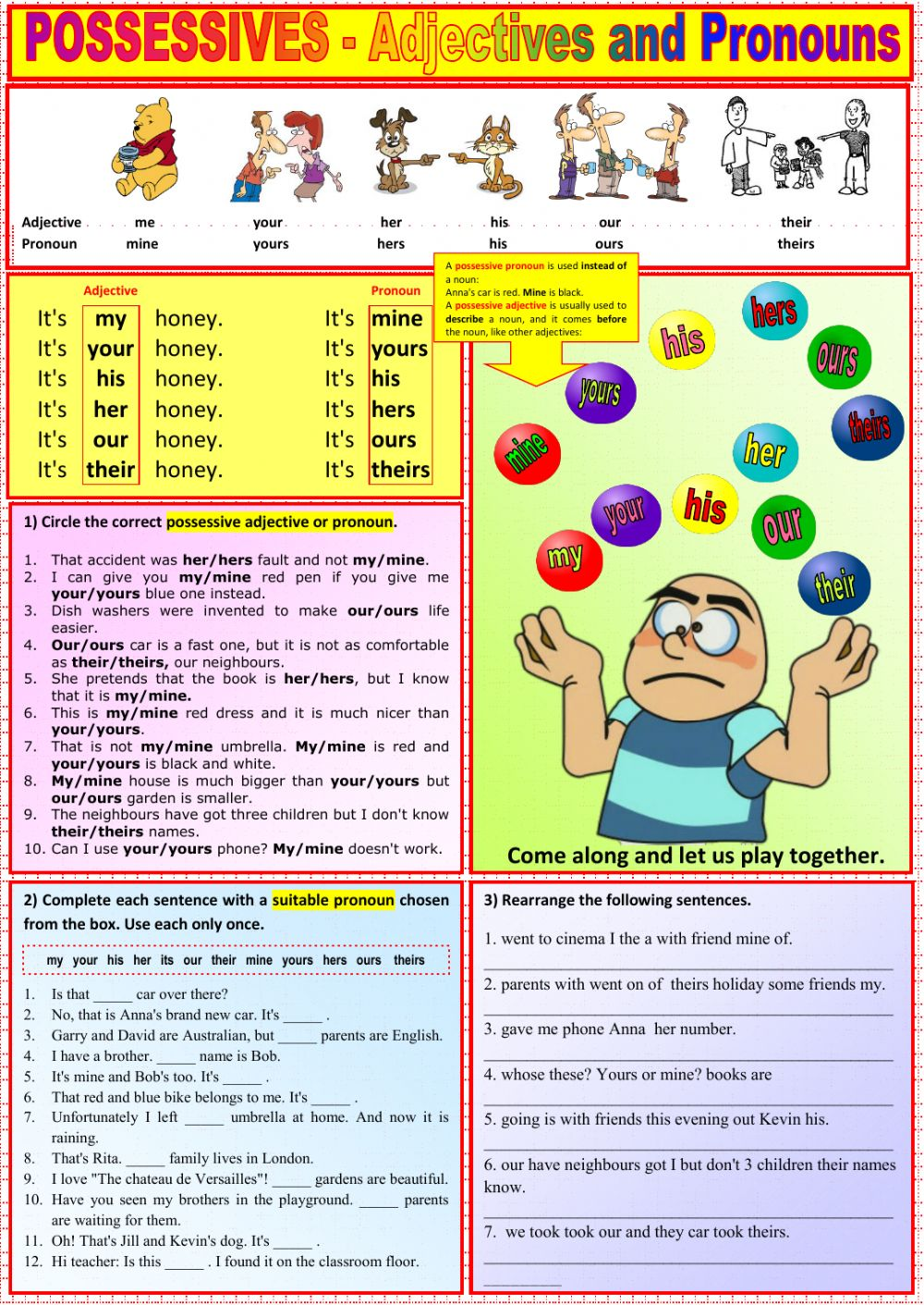 medium resolution of Possessives - Adjectives and Pronouns worksheet