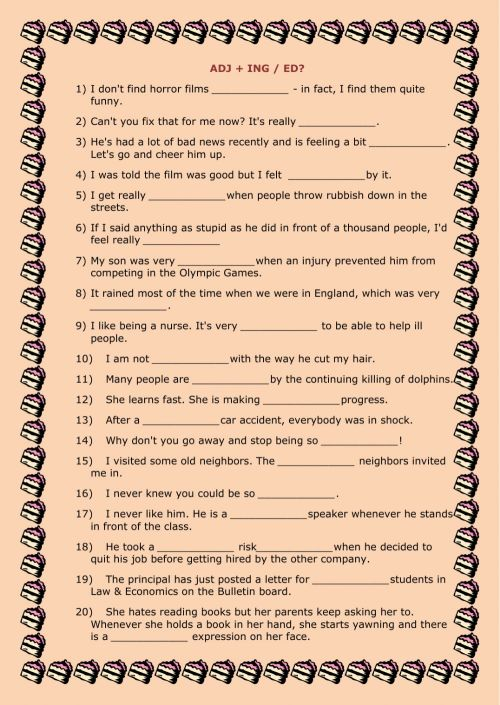 small resolution of Adjectives: Ing or Ed? worksheet