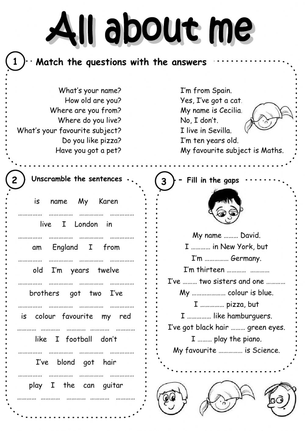 medium resolution of All about me worksheet