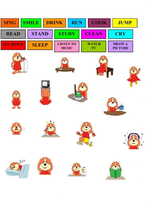 small resolution of Action verbs interactive worksheet