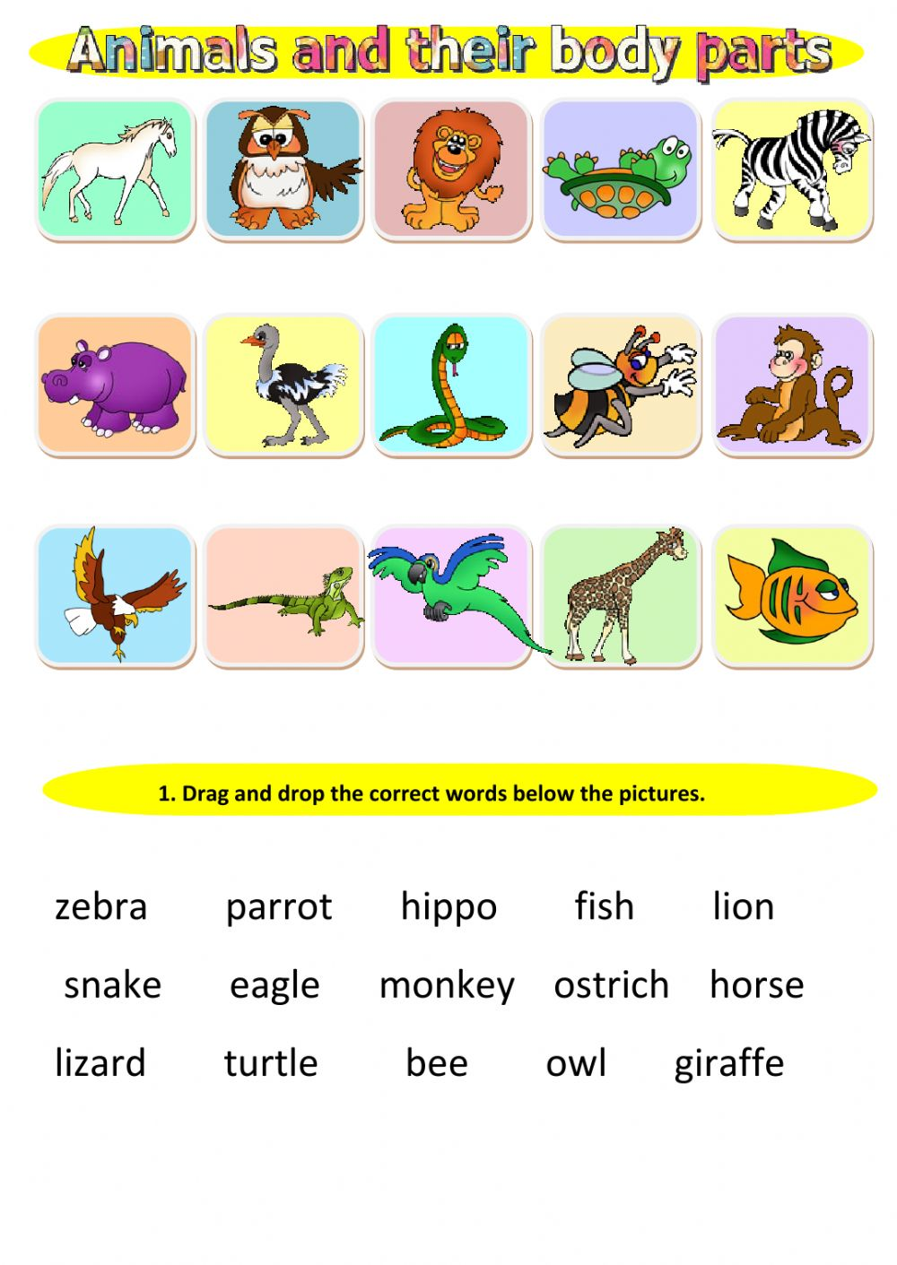 hight resolution of Animals and their body parts worksheet