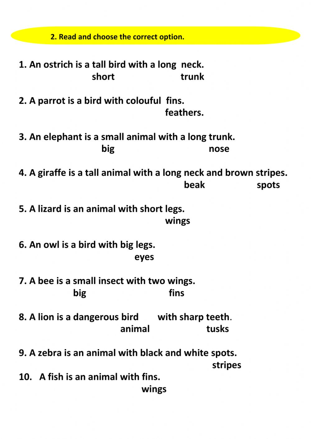 medium resolution of Animals and their body parts worksheet