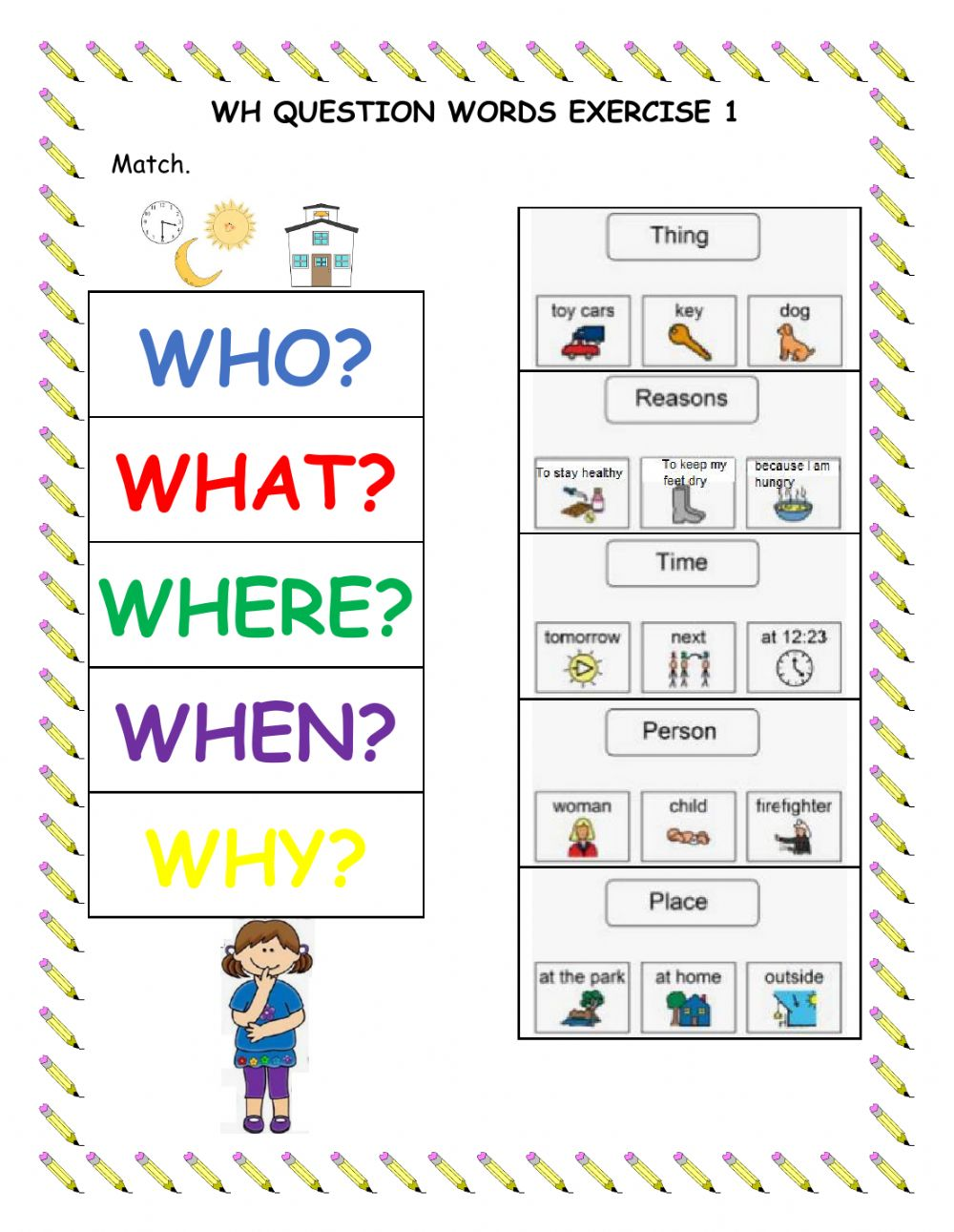 medium resolution of Wh Question Words Exercise 1 worksheet