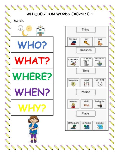 small resolution of Wh Question Words Exercise 1 worksheet