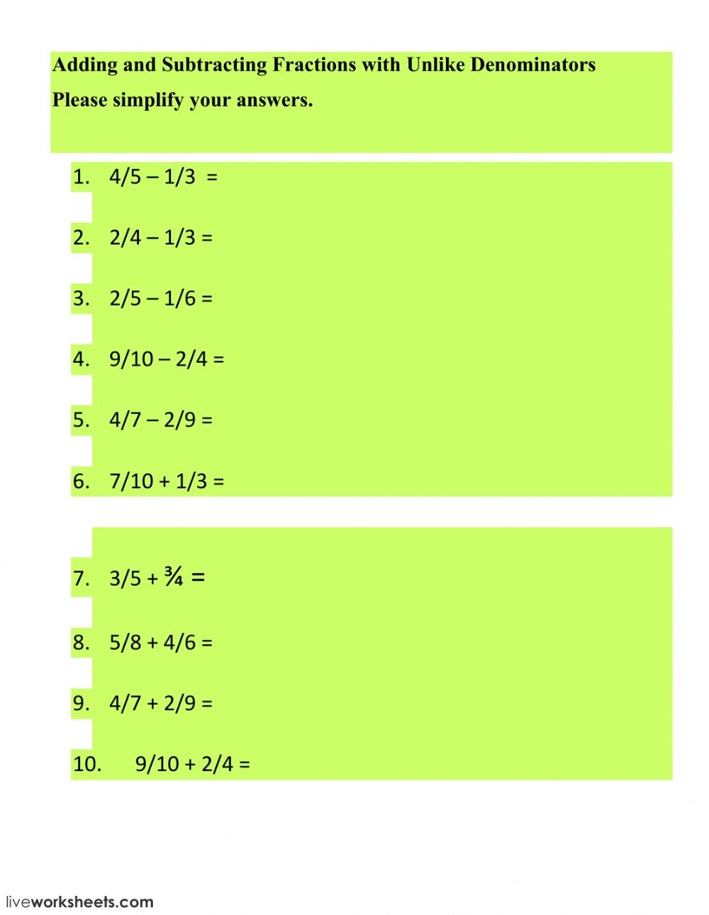 hight resolution of Adding-Subtracting Fractions with Unlike Denominators worksheet