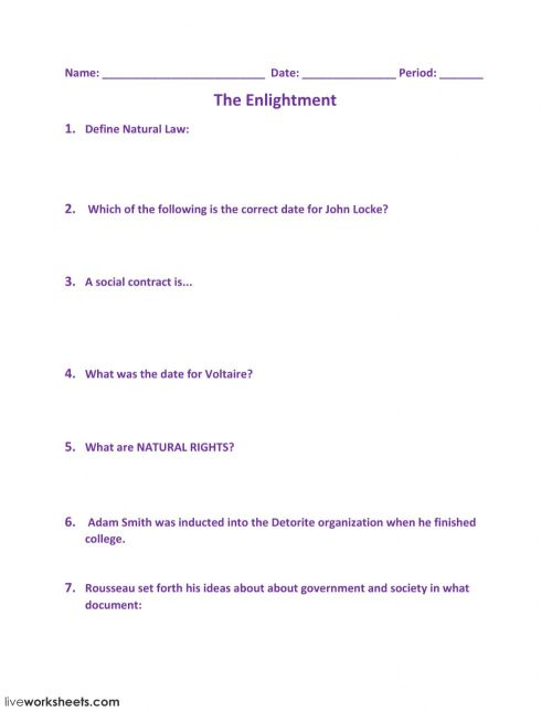 small resolution of The Enlightment worksheet
