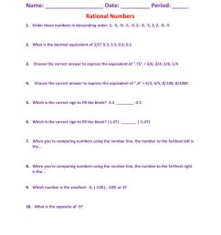 Rational Numbers worksheet [ 1291 x 1000 Pixel ]