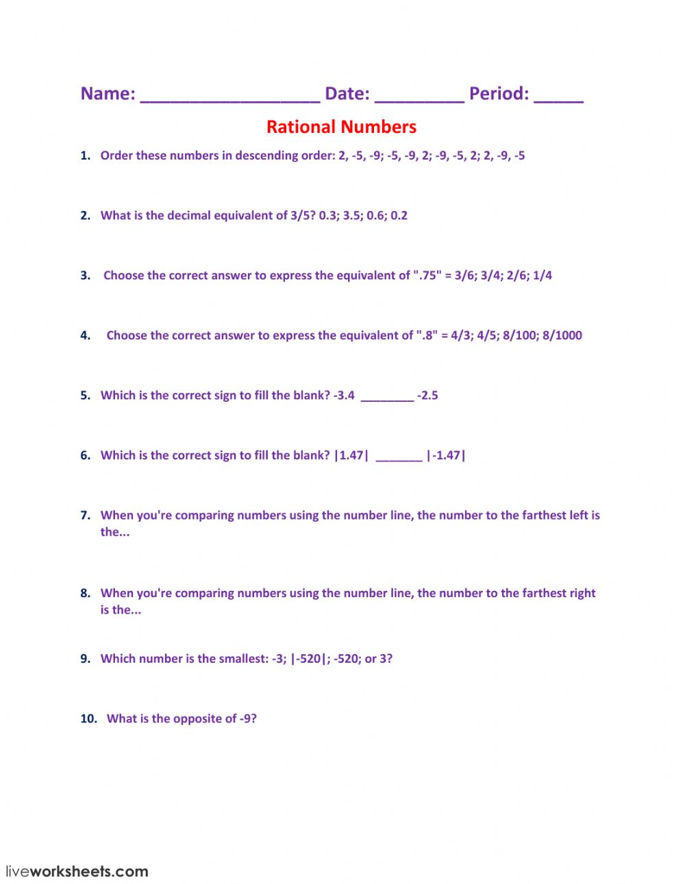 hight resolution of Rational Numbers worksheet