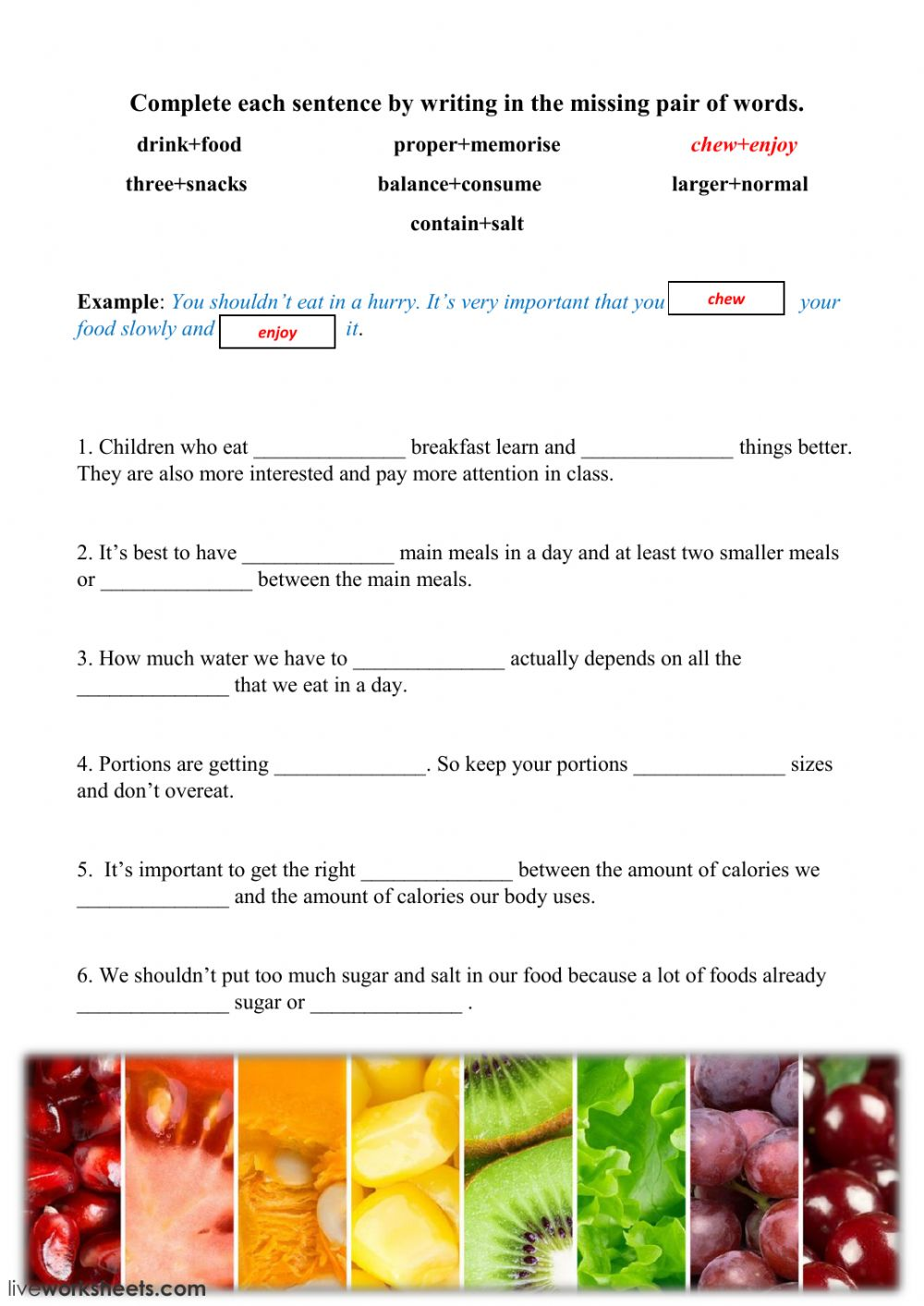 hight resolution of healthy diet vocabulary worksheet