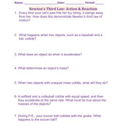 Newton's Third Law: Action - Reaction worksheet [ 1291 x 1000 Pixel ]