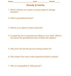 Gravity - Inertia worksheet [ 1291 x 1000 Pixel ]
