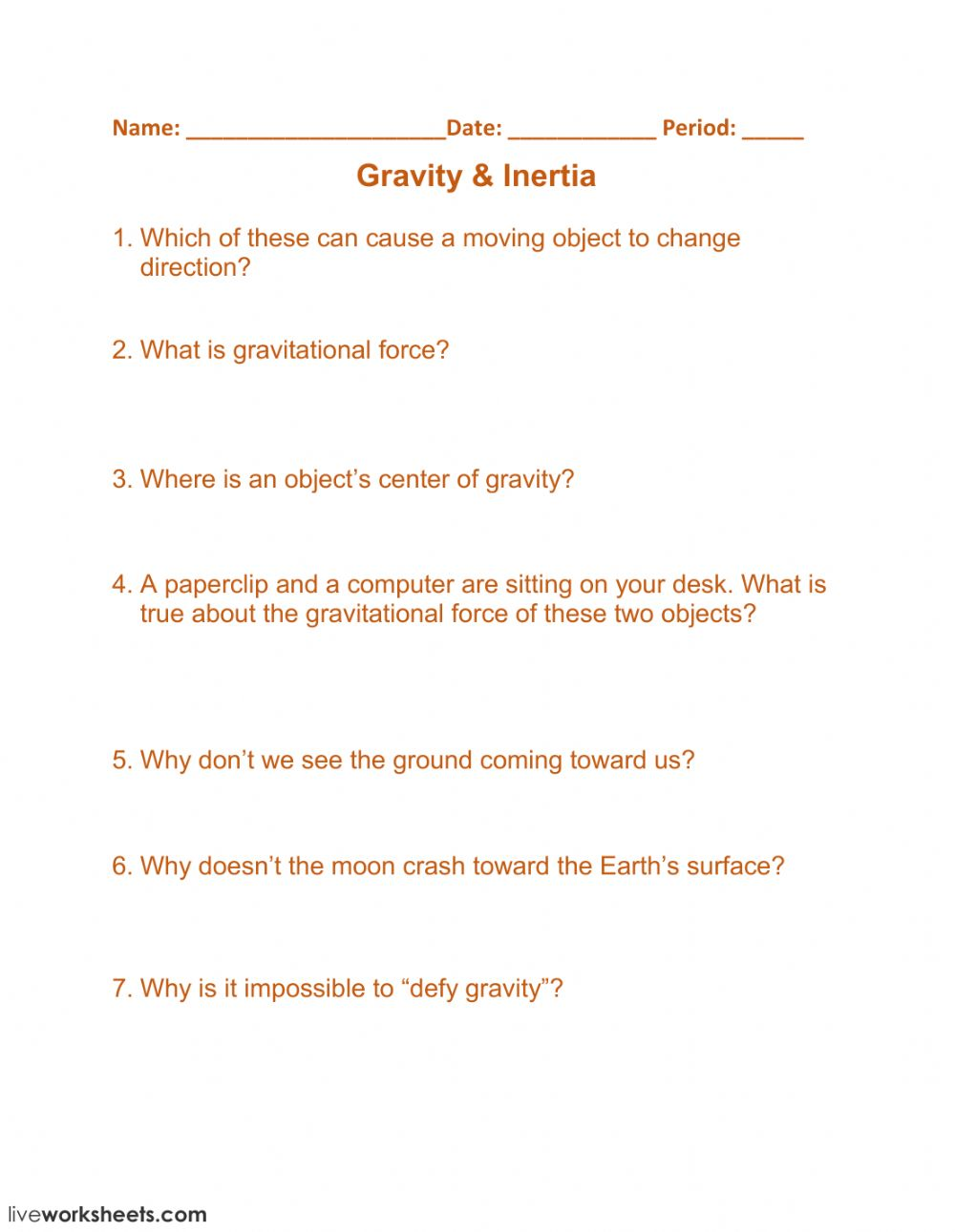 medium resolution of Gravity - Inertia worksheet