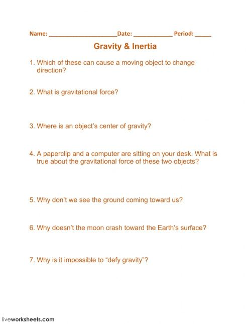 small resolution of Gravity - Inertia worksheet