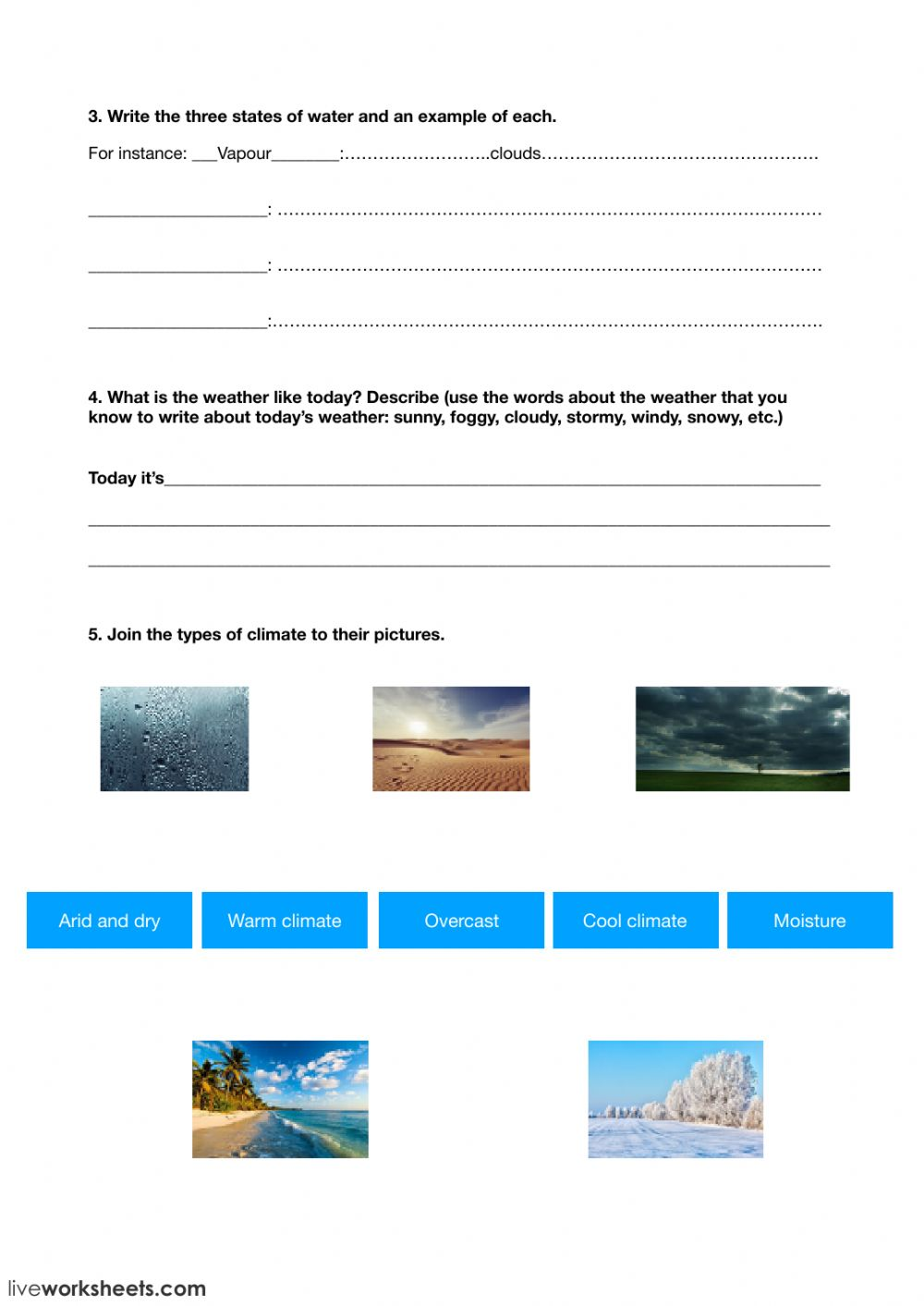 medium resolution of Weather and climate worksheet