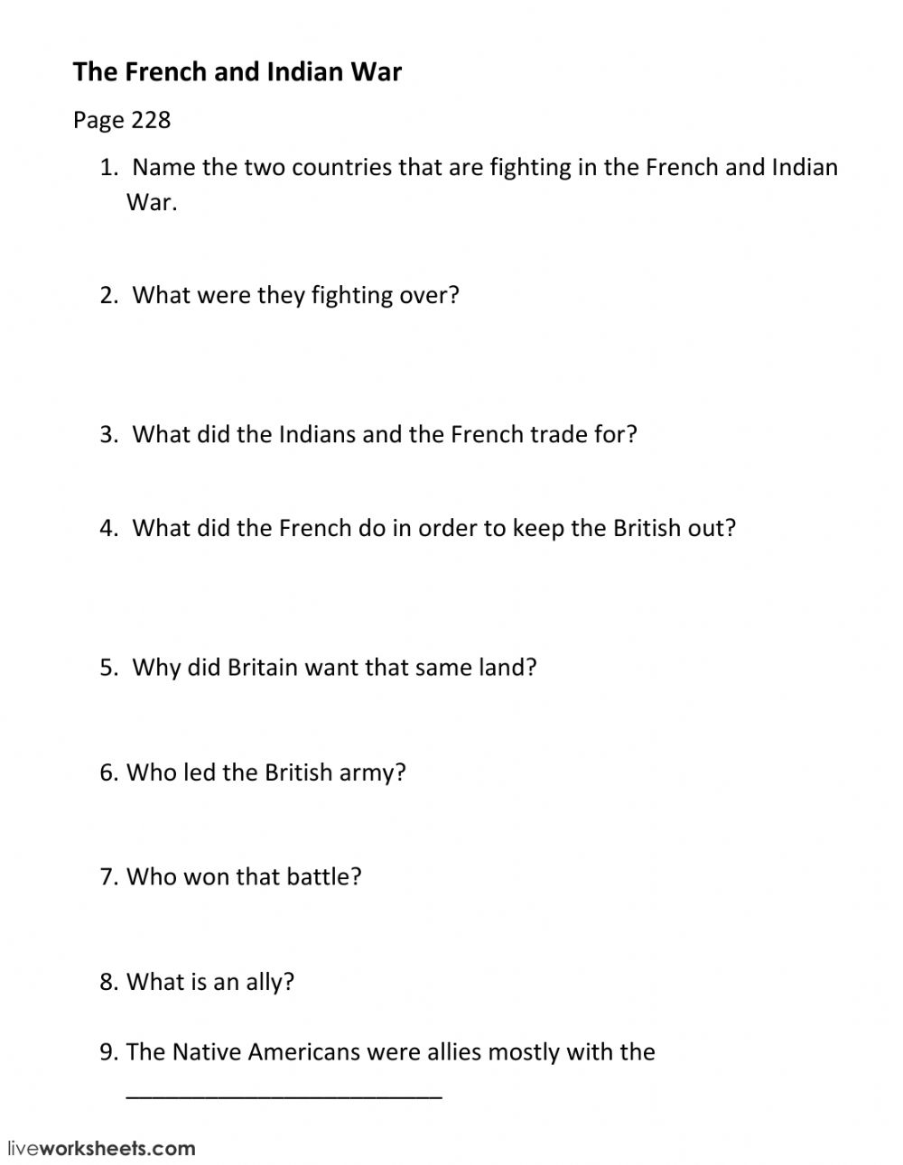 hight resolution of French and Indian War interactive worksheet