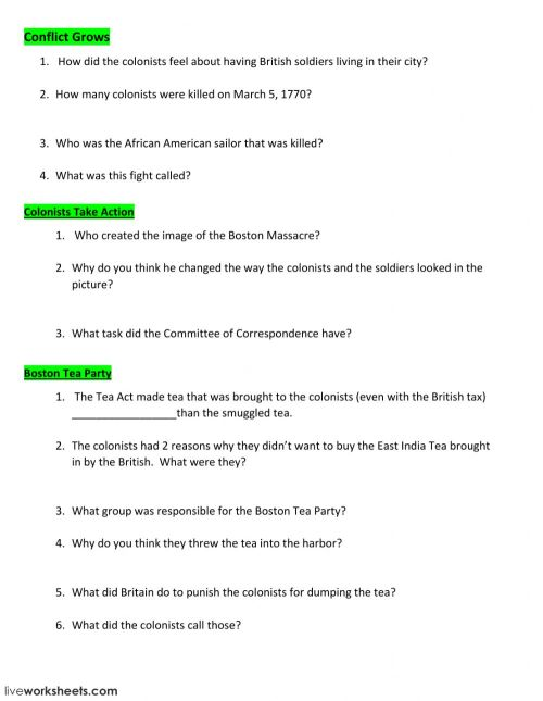 small resolution of Conflicts of Revolutionary War worksheet