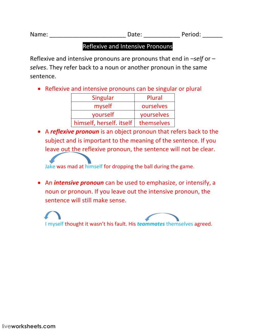 medium resolution of Lesson 4-Reflexive and Intensive Pronouns worksheet