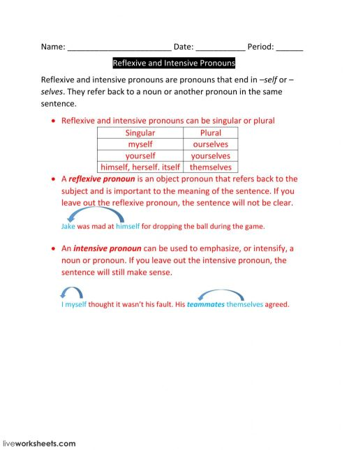 small resolution of Lesson 4-Reflexive and Intensive Pronouns worksheet