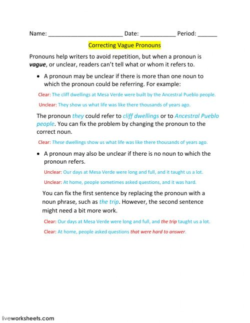 small resolution of Lesson 6-Correcting Vague Pronouns worksheet
