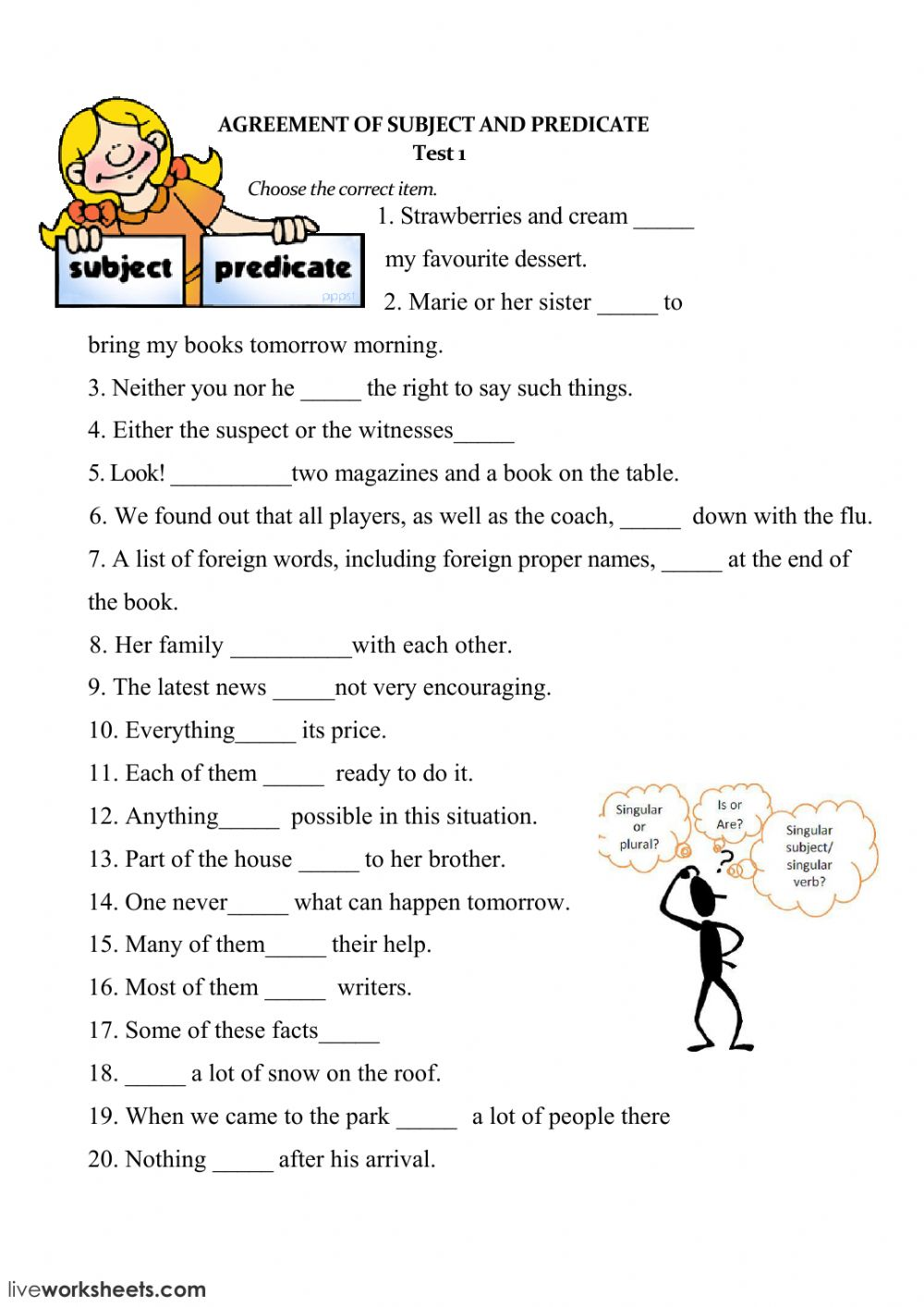 medium resolution of Subject and Verb Agreement worksheet