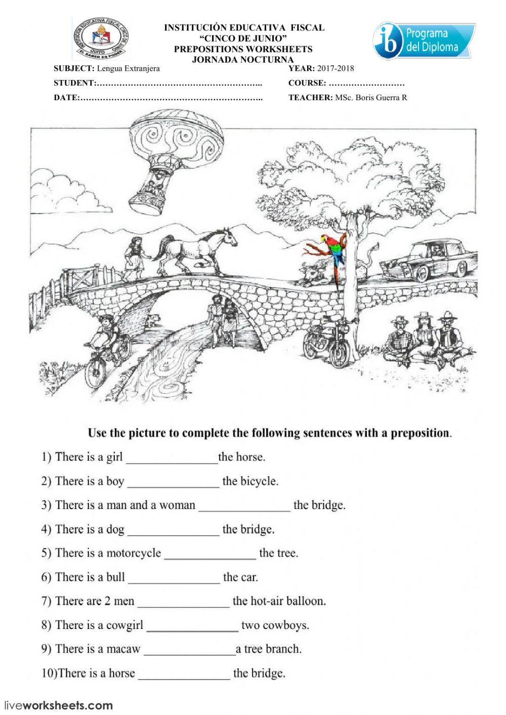 hight resolution of PREPOSITIONS TEST worksheet